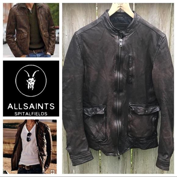 c3879c66a Men's All Saints Brown Biker Jacket